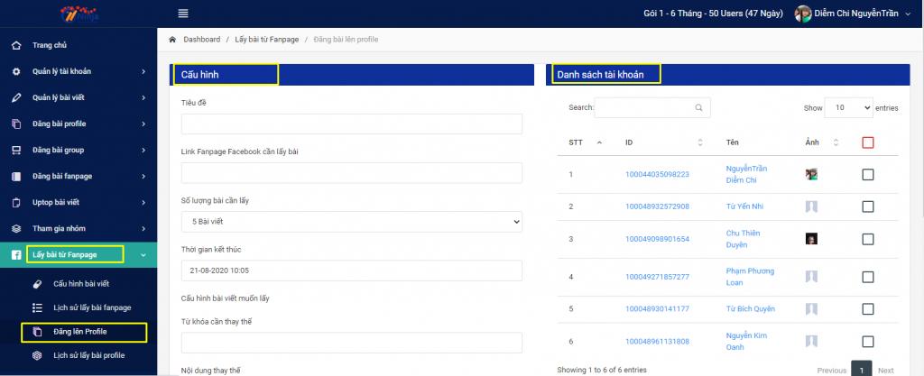 Phần mềm Ninja Auto Post hỗ trợ tự động lấy bài đăng theo Fanpage