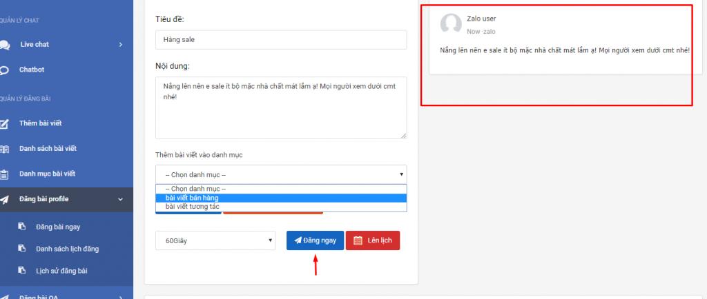 Quản lý đăng bài tự động trên phần mềm quản lý bán hàng zalo